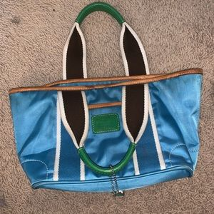 Blue green and white small coach purse!